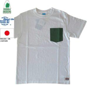 グッドオン×シェラデザインズ Tシャツ 64クロス Good On x SIERRA DESIGNS 60/40 POCKET TEE 1509White/Green リブラセレクトストア LBRA SELECT STORE 浜松市