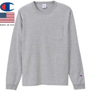 Champion チャンピオン ティーテンイレブン ロングスリーブポケットTシャツ MADE IN USA T1011 C5-P401 オックスフォードグレー リブラセレクトストア libra select store libra-ss LBR 浜松