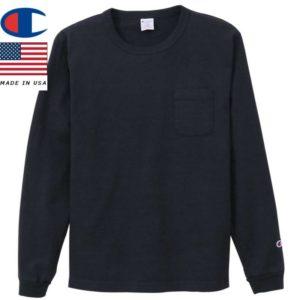 Champion チャンピオン ティーテンイレブン ロングスリーブポケットTシャツ MADE IN USA T1011 C5-P401 ネイビー リブラセレクトストア libra select store libra-ss LBR 浜松