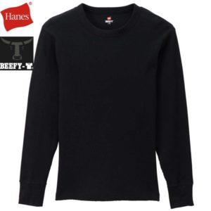 Hanes ヘインズ ビーフィー サーマルクルーネックロングスリーブTシャツ BEEFY-T HM4-Q103 ブラック リブラセレクトストア libra select store libra-ss LBR 浜松