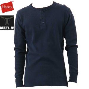 Hanes ヘインズ ビーフィー サーマルヘンリーネックロングスリーブTシャツ BEEFY-T HM4-S104 ネイビー リブラセレクトストア libra select store libra-ss LBR 浜松
